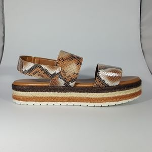 NR Rapisardi Two Band Snakeprint Platform Sandal